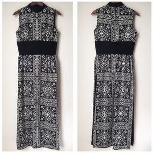 Vtg 60s 70s Floral Psychedelic Hostess Slit Dress
